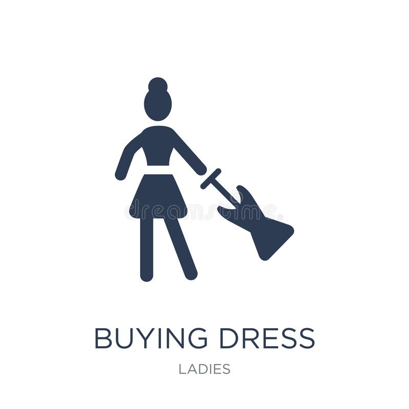 Köpande klänningsymbol Köpande klänningsymbol för moderiktig plan vektor på vit stock illustrationer