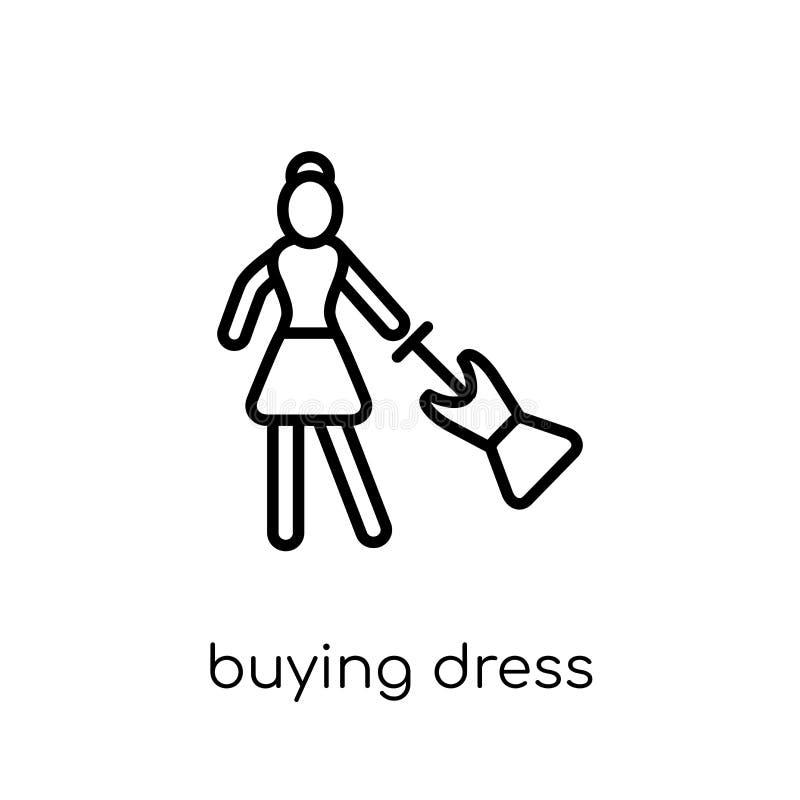 Köpande klänningsymbol Moderiktig modern plan linjär vektorköpandeklänning royaltyfri illustrationer