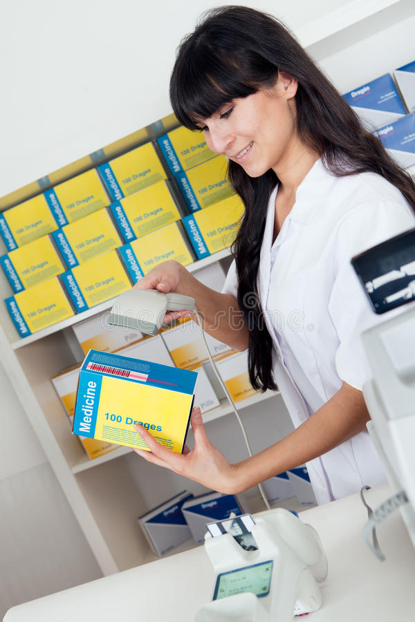 köpande medicinapotek arkivbild
