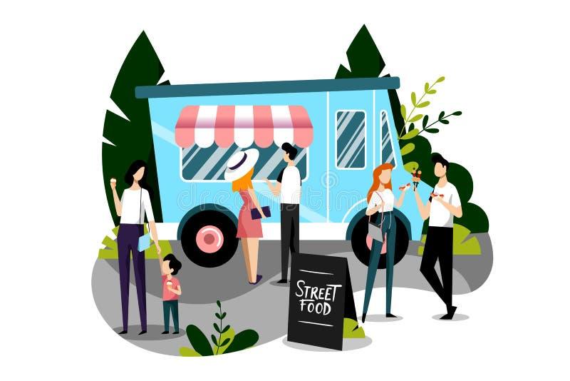 Köpande snabbmatmål för folk i en matlastbil Plan f?rgrik illustration f?r vektor Begrepp för gatamatfestival stock illustrationer