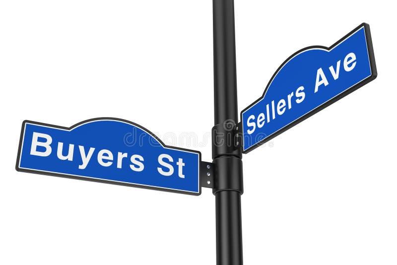 Köpare gata och tecken för säljareavenygata framförande 3d stock illustrationer