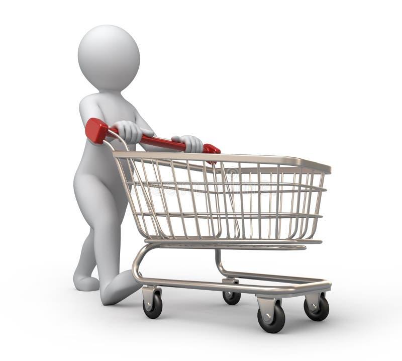 Köpare med en shoppingvagn stock illustrationer