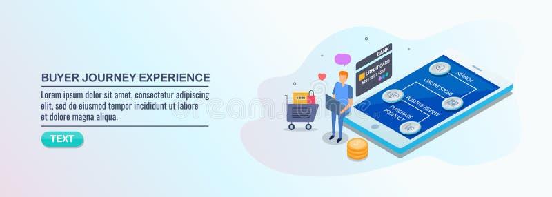 Köpare som inhandlar via mobiltelefonen, M-kommers, online-shopping, kunderfarenhet, resaöversiktsbegrepp vektor illustrationer