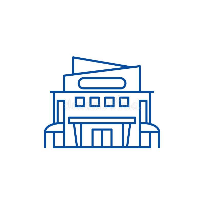 Köpcentrumlinje symbolsbegrepp Plant vektorsymbol för köpcentrum, tecken, översiktsillustration royaltyfri illustrationer