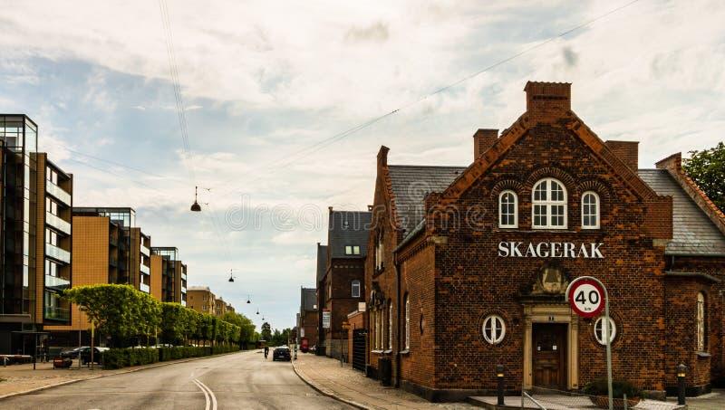 Köpenhamn Danmark - 2019 Berömda gator med färgglade byggnader i Köpenhamns gamla historiska mitt denmark royaltyfri bild