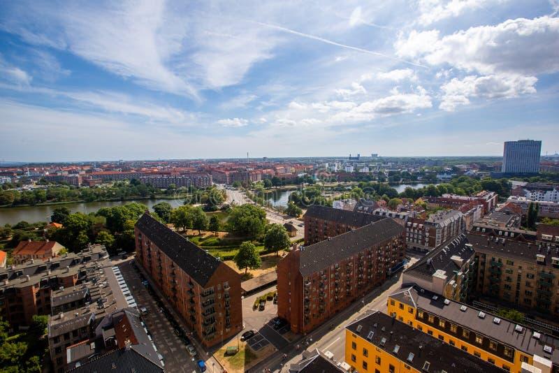 Köpenhamn, panorama - flygbeläggning royaltyfria foton