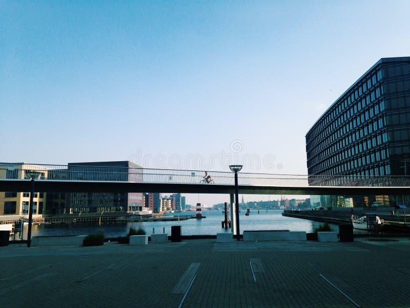 Köpenhamnbro och byggnader fotografering för bildbyråer