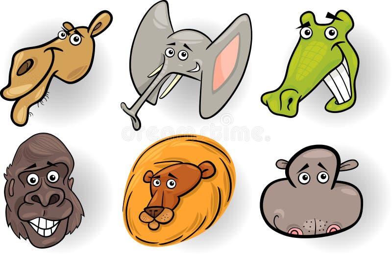 Köpfe der wilden Tiere der Karikatur eingestellt lizenzfreie abbildung