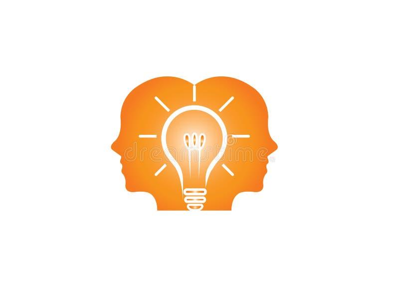 Köpfe des Denkens mit zwei Männern intelligent für Idee für Logo lizenzfreie abbildung