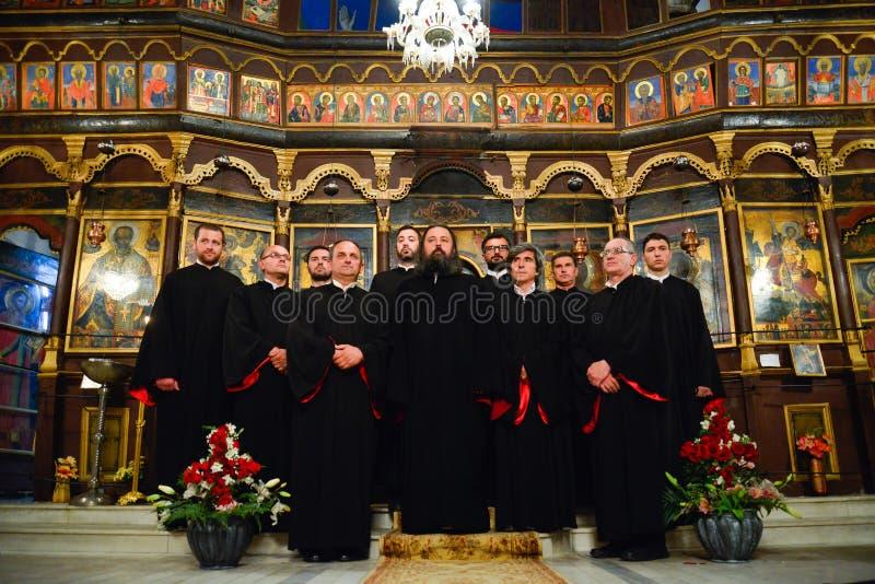 Kör för ortodox kyrka royaltyfria bilder