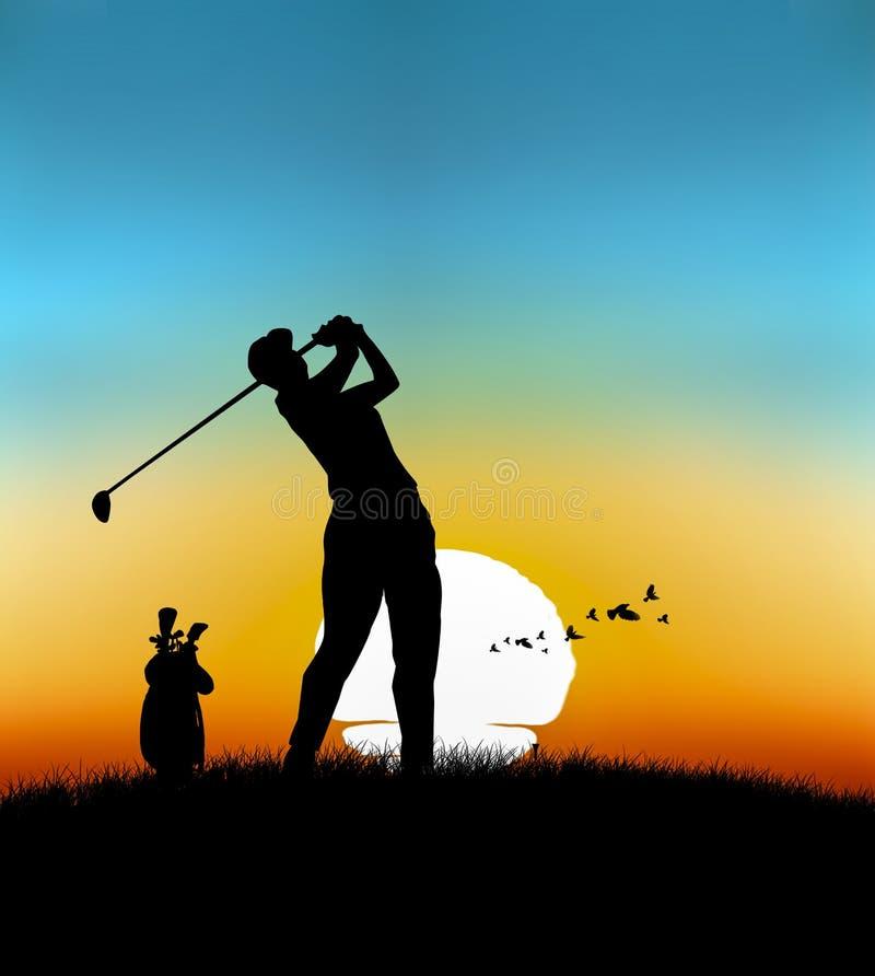 Kör golfsportillustrationen vektor illustrationer