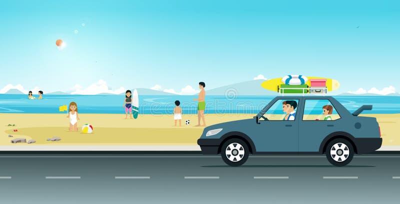 Kör stranden royaltyfri illustrationer