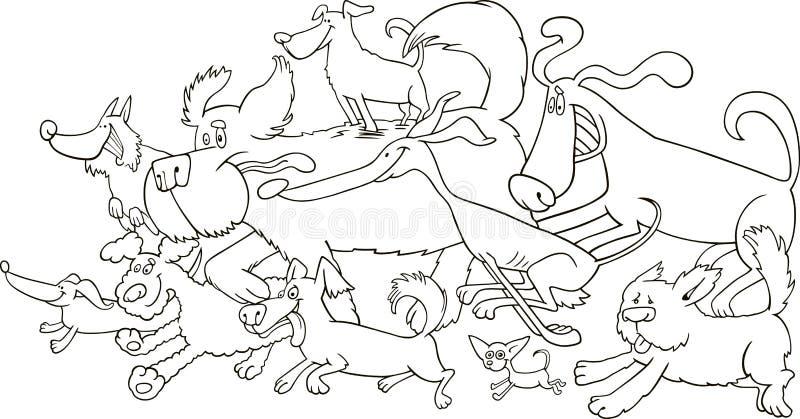 köra för färgläggninghundar stock illustrationer