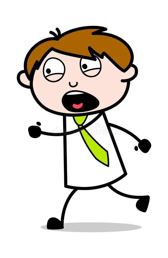 Köra med skräck - kontorsrepresentantEmployee Cartoon Vector illustration stock illustrationer