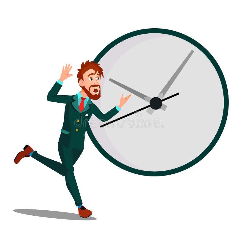Körande affärsman With Huge Clock, Tid ledning, stopptidvektor isolerad knapphandillustration skjuta s-startkvinnan vektor illustrationer