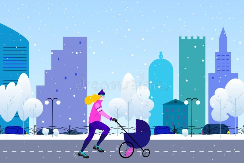 Körande begrepp för vinter Den unga idrotts- kvinnan med sittvagnen som gör att jogga i vintern färgad stad, parkerar i plan stil vektor illustrationer