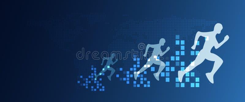Körande folk för Digital omformningsabstrakt begrepp med hastighet som ökar från PIXEL Aff?rs- och teknologibegrepp digitalt stock illustrationer