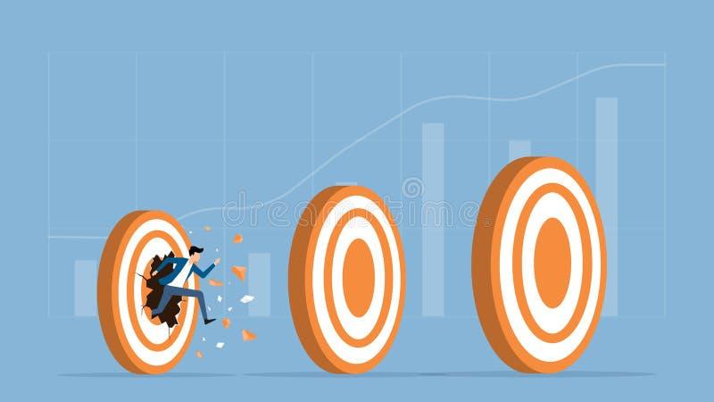 Körande genombrott för plan hastighet för vektorillustrationaffärsman som uppsätta som mål framgång royaltyfri illustrationer