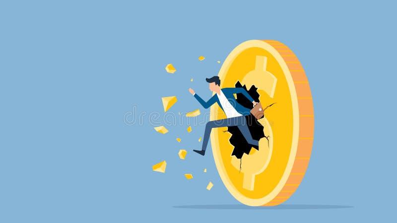 Körande genombrott för plan hastighet för vektorillustrationaffärsman till dollarmyntpengar vektor illustrationer