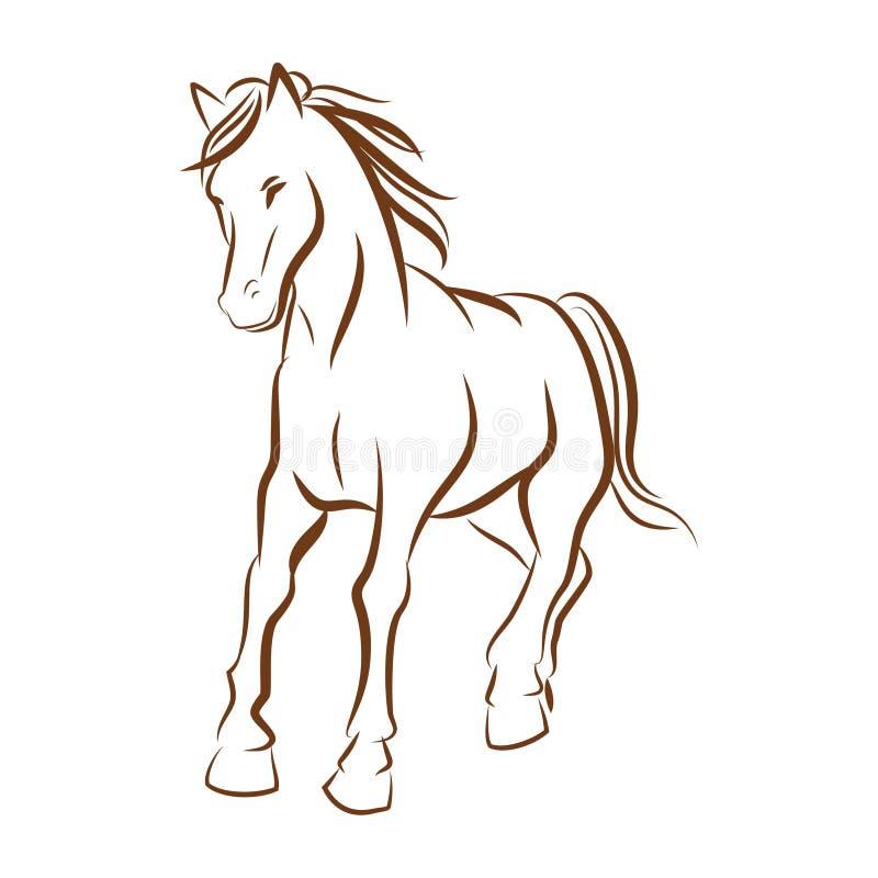 Körande hästlinje teckning stock illustrationer