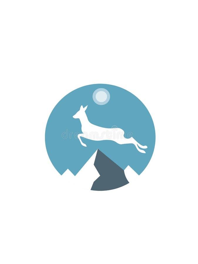 Körande hjortar över bergen vektor illustrationer