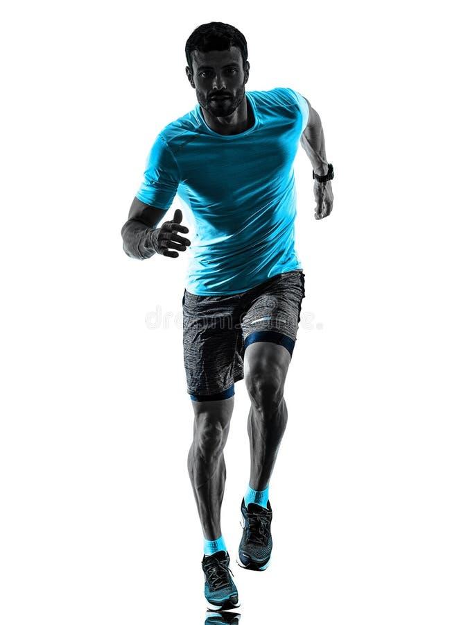 Körande jogger för manlöpare som joggar isolerad vit bakgrund för kontur arkivfoton