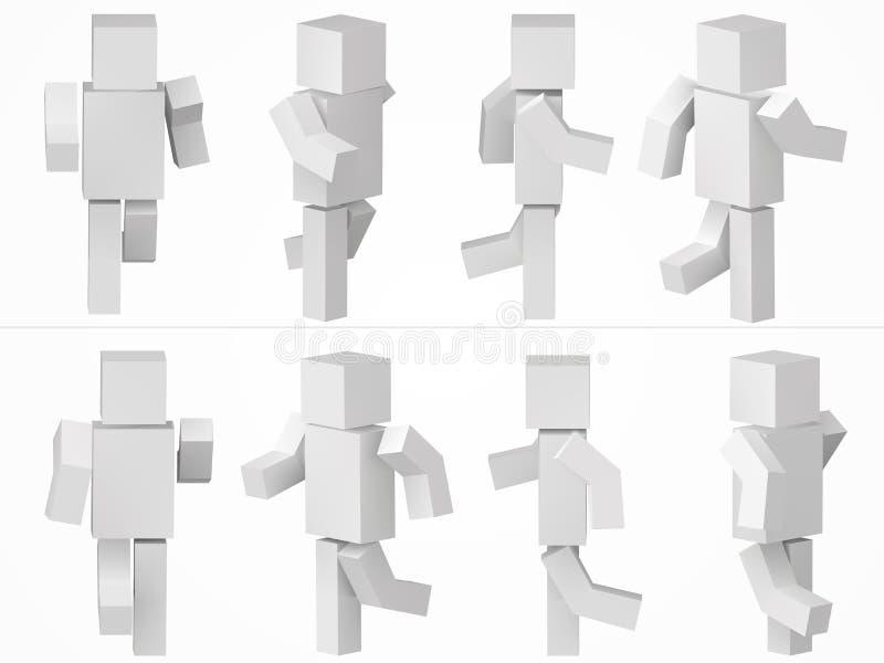 Körande kubiktecken enkel kubikteckenillustration för stil 3d royaltyfri illustrationer
