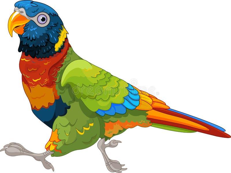 Körande Lory Parrot stock illustrationer