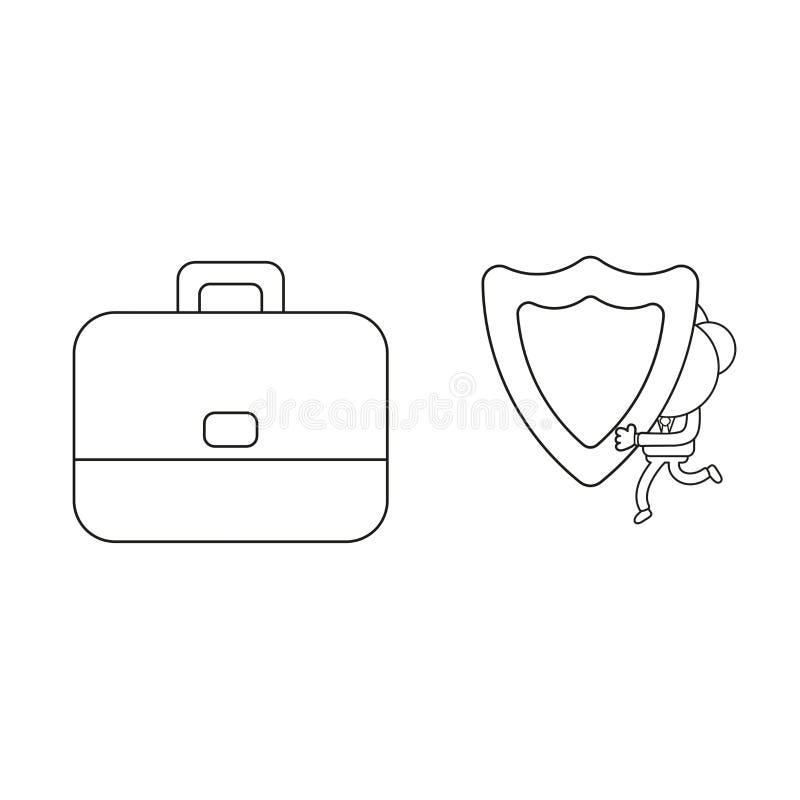 Körande och bärande vaktsköld för vektoraffärsmantecken till portföljen Svart översikt royaltyfri illustrationer