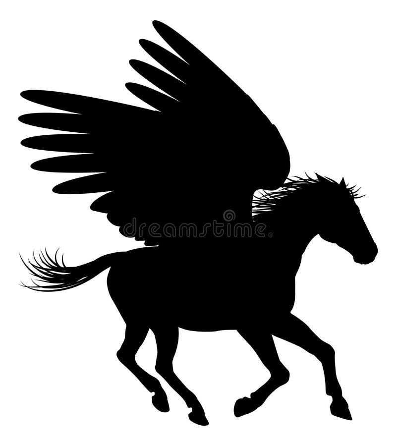 Körande Pegasus kontur stock illustrationer