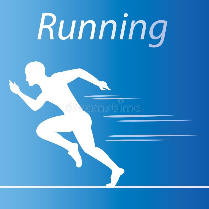 Körande sportlogo med blå bakgrund vektor illustrationer