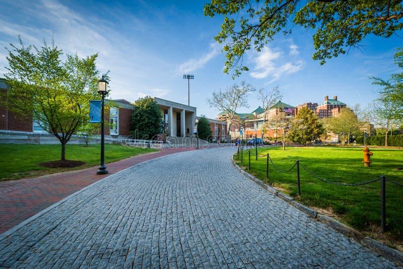 Körbana och byggnad på det Johns Hopkins universitetet i Baltimore, royaltyfri bild