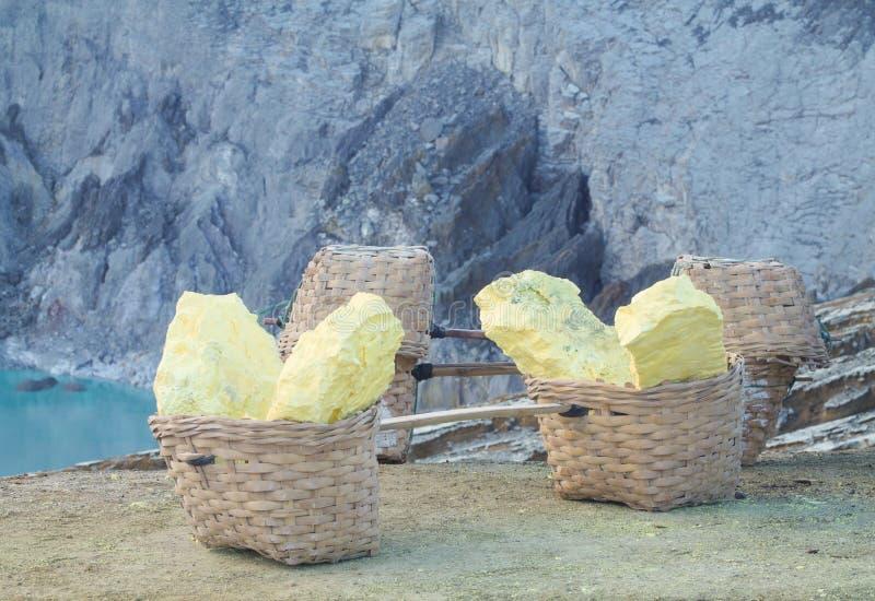 Körbe des Schwefels inneren Ijen-Krater durch Bergmänner extrahierend lizenzfreie stockfotos
