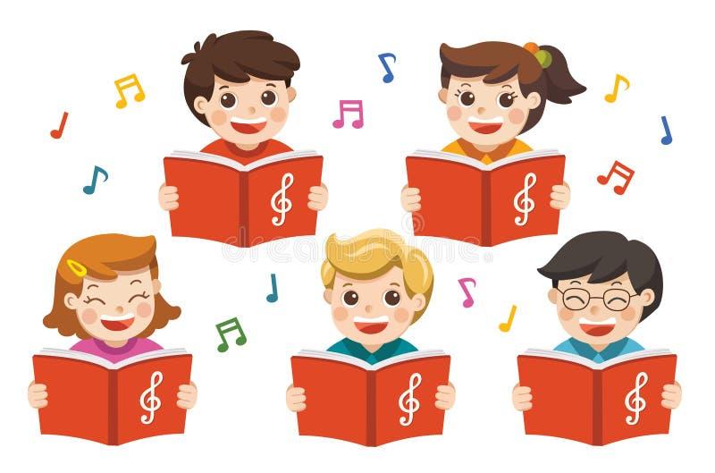 Körflickor och pojkar som sjunger en sång stock illustrationer