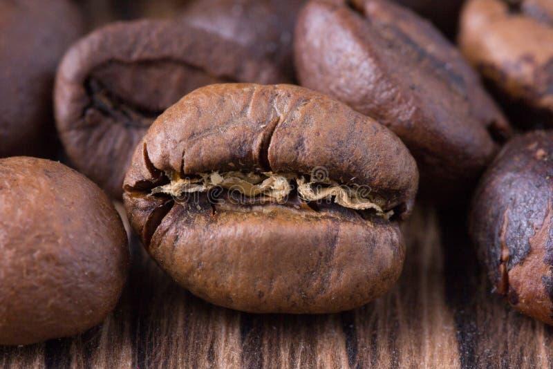 Körner der Kaffeenahaufnahme lizenzfreie stockfotos
