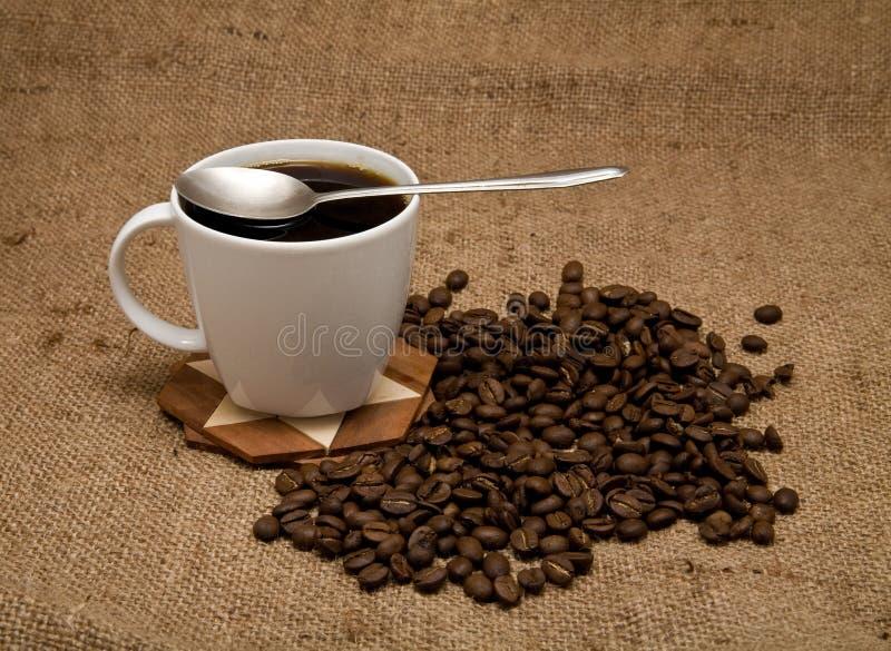 Körner und Tasse Kaffee stockfoto