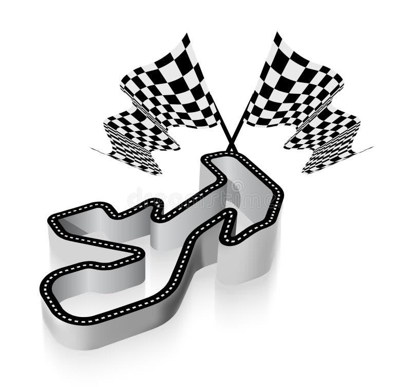 Körning av den tävlings- strömkretsen stock illustrationer