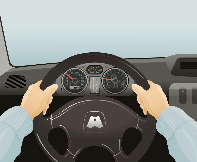 Körning av en bil också vektor för coreldrawillustration vektor illustrationer