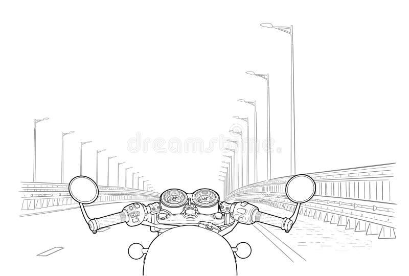 Körning av en motorcykel på en huvudväg Plan vektor stock illustrationer