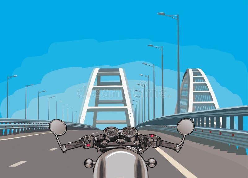 Körning av en motorcykel på en huvudväg Plan vektor royaltyfri illustrationer