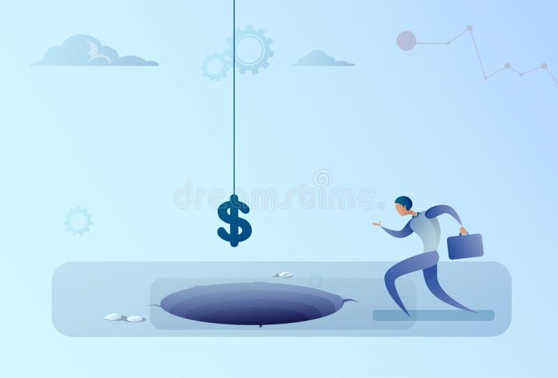 Körning för affärsman till dollartecknet som faller i begrepp för hålfinanskris royaltyfri illustrationer