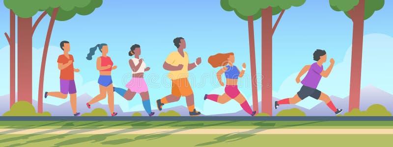 Körning för folk 5K Män och kvinnagrupp som kör 5K avståndet, utomhus- sunt övningsbegrepp för sommar Vektor sprungen om aktivite royaltyfri illustrationer