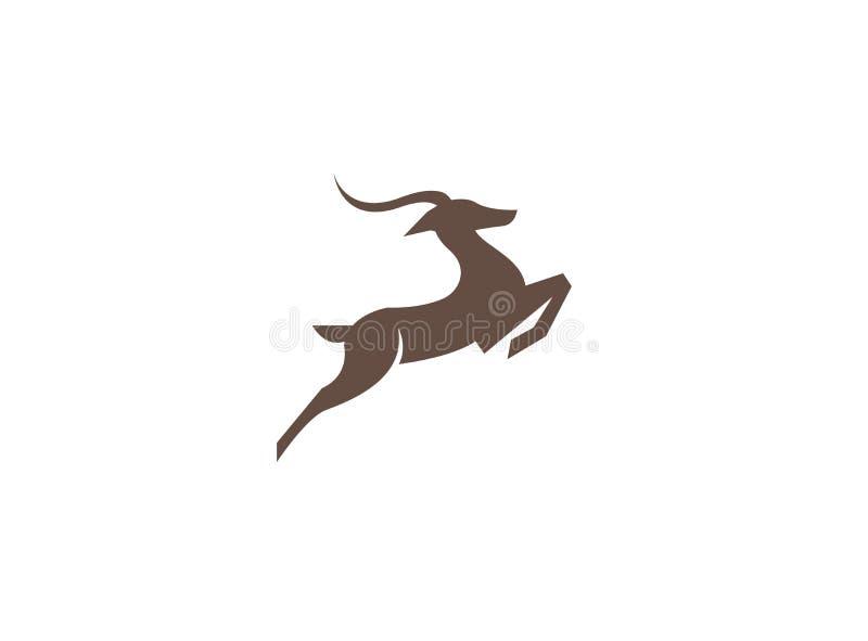 Körning och hopp för hjortar bakre för logodesignillustration vektor illustrationer