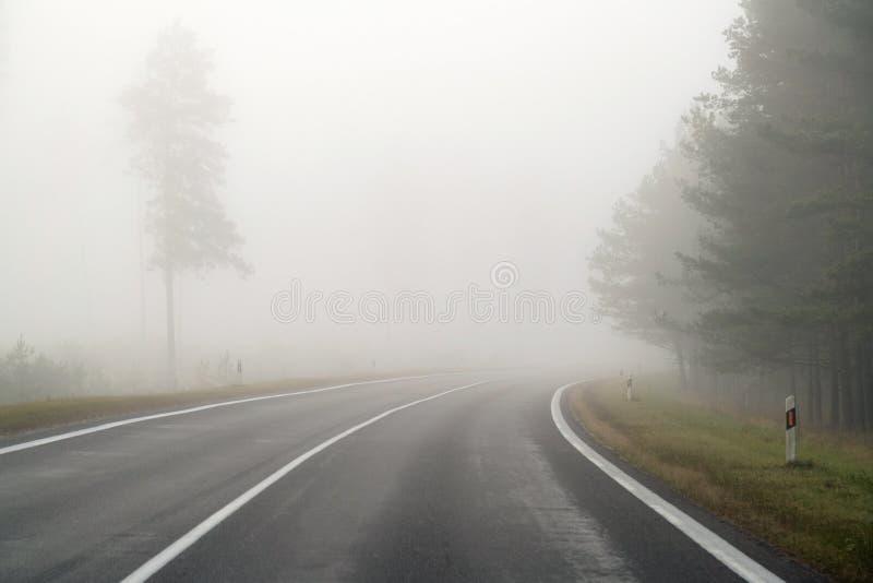 Körning på bygdvägen i dimma Illustration av faror av D royaltyfri fotografi