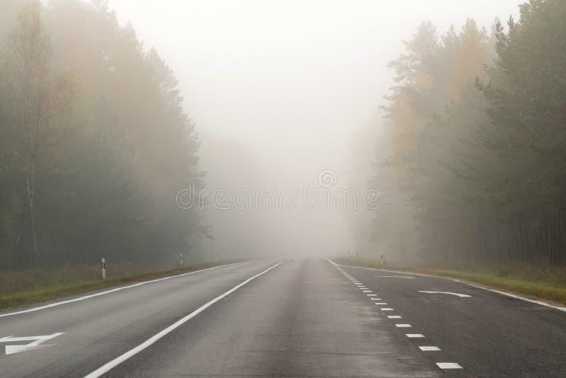 Körning på bygdvägen i dimma Illustration av faror av D royaltyfria foton