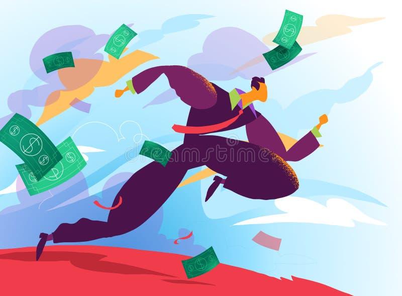 Körningar för en affärsman in mot rik framtid stock illustrationer