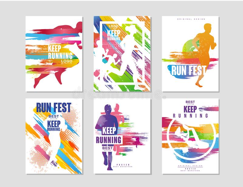 Körningsfestaffischer ställer in, sport- och konkurrensbegreppet, den rinnande maraton, den färgrika designbeståndsdelen för kort royaltyfri illustrationer