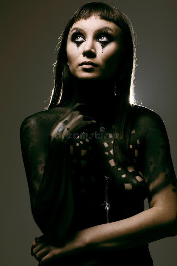 Körper-Kunstfarbe, junge Frau stockbilder