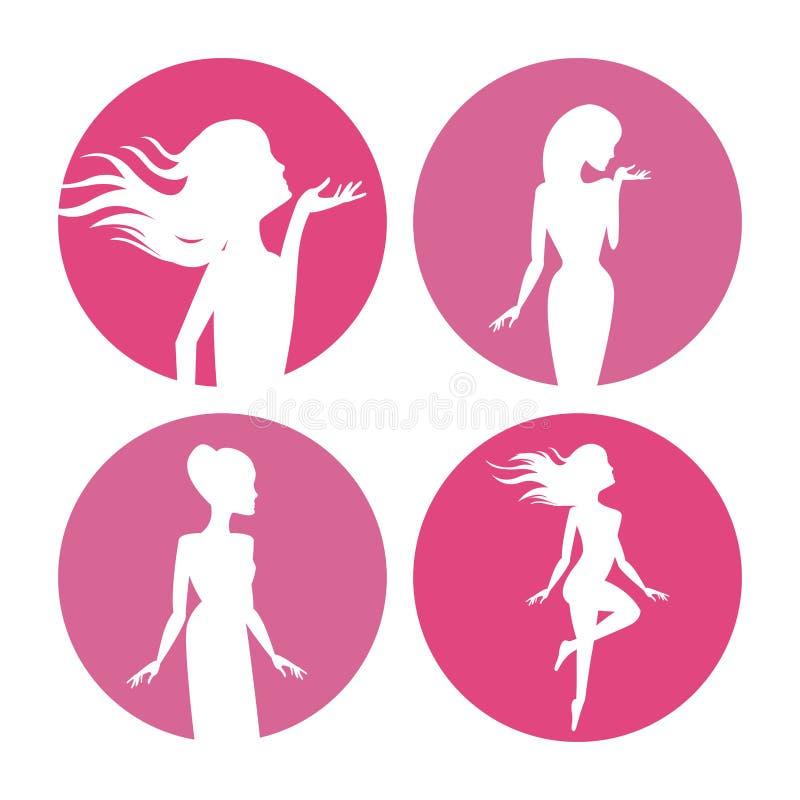 Körper-Schattenbildikonen der Frauen vektor abbildung