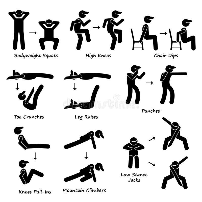 Körper-Trainings-Übungs-Eignungs-Training (stellen Sie 2) Clipart ein stock abbildung